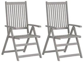 vidaXL Záhradné sklápacie stoličky 2ks sivé masívne akáciové drevo