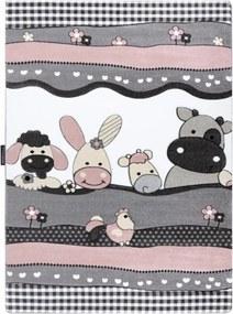 Detský kusový koberec Na farme sivoružový, Velikosti 240x330cm