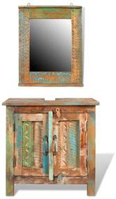 vidaXL Kúpeľňový nábytok z recyklovaného dreva: skrinka pod umývadlo, zrkadlo