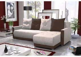 Elegantná sedacia súprava s opierkami LEONARD BIS, krémová + hnedá