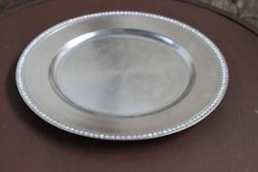 Strieborný klubový tanier s kamienkami 32cm
