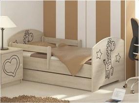 MAXMAX Detská posteľ s výrezom ŽIRAFA - prírodná 140x70 cm + matrac ZADARMO! 140x70 pre dievča|pre chlapca|pre všetkých ÁNO|NIE