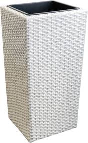 neu.haus]® Elegantný prútený kvetináč pre širokú škálu záhrad, terás, balkónov či dokonca zdobenie bytu.Veľkosť (dĺžka x šírka x výška):23x23x42 cm farba:biela,materiály:rám: -kov vnútorná schránka: plast- opletenie: Polyrattan (plast)