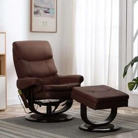 vidaXL Sklápacie masážne kreslo, hnedé, umelá koža a ohýbané drevo