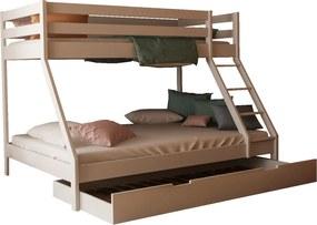 MF Biela poschodová posteľ s rozšíreným lôžkom Mikael 140x200 cm + prístelka