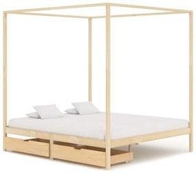 vidaXL Posteľný rám, baldachýn, 2 zásuvky, borovicový masív 180x200 cm