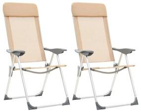 vidaXL Skladacie kempingové stoličky 2 ks, krémové, hliník