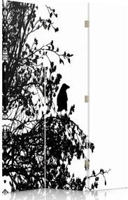 CARO Paraván - Black And White Bird   trojdielny   obojstranný 110x180 cm