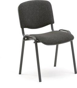 Konferenčná stolička Nelson, šedá tkanina, čierny podstavec
