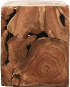 Príručný stolík z teakového dreva HSM collection Cube, 25 × 30 cm