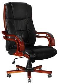 373acc892d59 Kožené kancelárske čierne kreslo s vysokou opierkou chrbta