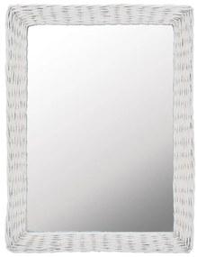 vidaXL Zrkadlo s prúteným rámom biele 60x80 cm