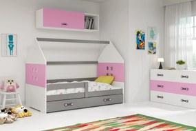 Domčeková posteľ DOMI 160x80cm - Grafitová - Ružová