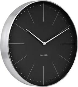 Karlsson Čierno-strieborné nástenné hodiny - Karlsson Normann Station, OE 37,5 cm