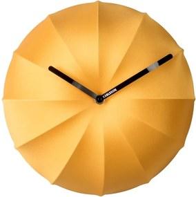 Žlté nástenné hodiny Karlsson Stretch, ø 40 cm