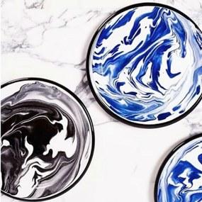 Velký smaltovaný modrý tanier