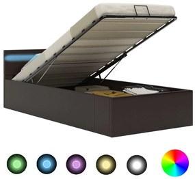 vidaXL Hydraulický posteľný rám+úložný priestor, LED, umelá koža 100x200 cm