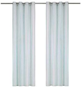 vidaXL Závesy s kovovými očkami 2 ks bavlna 140x245 cm modré prúžky