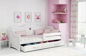 MAXMAX Detská srdiečková posteľ Juliette sa zásuvkou 160x80 cm - biela + MATRACE