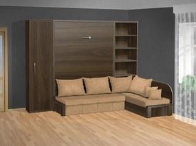 Nabytekmorava Sklápacia posteľ s rohovou pohovkou VS 3075P - 200x140 cm + policová skriňa 60 nosnost postele: štandardná nosnosť, farba lamina: orech 729, farba pohovky: nubuk 133 caramel