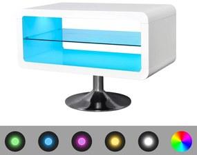 LED biely TV stojan s vysokým leskom, 80 cm