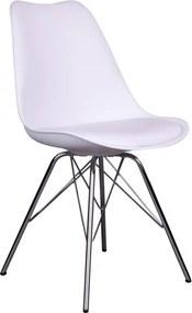 Jídelní židle Nordic Living Marcus, chromovaná podnož, bílá S1001005 Nordic Living