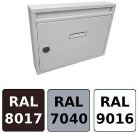 Poštová schránka DLS-E-01-B-P, vhod formát A4, interierové schránky / Barva schránky:Bílá RAL 9016