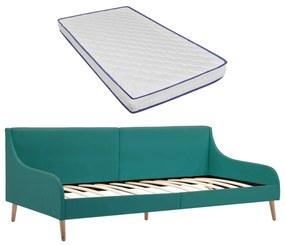 vidaXL Rám dennej postele s matracom z pamäťovej peny zelený látkový