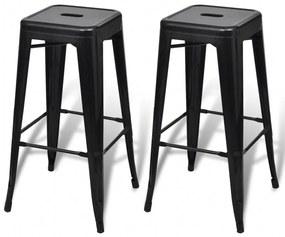 Barové stoličky, 2 ks, štvorcové, čierne
