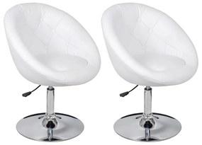 Klubová stolička z umelej kože, 2 ks, biela