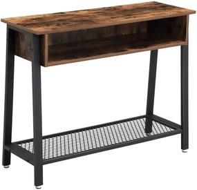 VASAGLE Odkladací stolík hnedý 100x35 cm