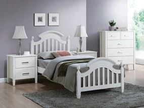 SIGNAL Lizbona 90 drevená jednolôžková posteľ s roštom biela