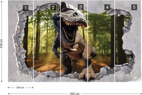 Fototapeta GLIX - Dinosaur Hole In Wall 2 + lepidlo ZADARMO Vliesová tapeta  - 520x318 cm