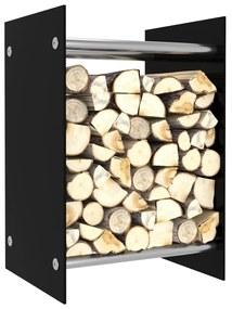 vidaXL Stojan na krbové drevo, čierny 40x35x60 cm, sklo