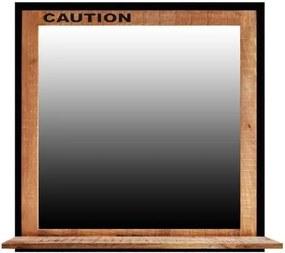 Sconto Zrkadlo s poličkou IRON mangovník