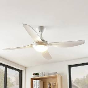 Arcchio Inja LED ventilátor, 4 lopatky, biely