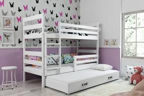 Poschodová posteľ s prístelkou ERIK 3 - 200x90cm Biely - Biely