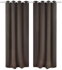 2 ks hnedé blackout závesy s kovovými krúžkami, 135 x 245 cm