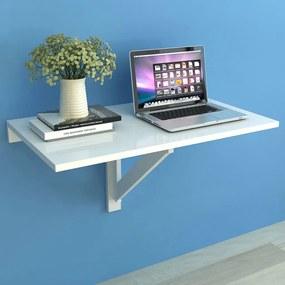vidaXL Skladací stolík na stenu, biely 100x60 cm