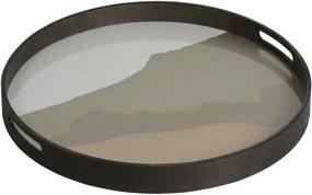 Ethnicraft Podnos Glass Tray Round S, sand wabi sabi