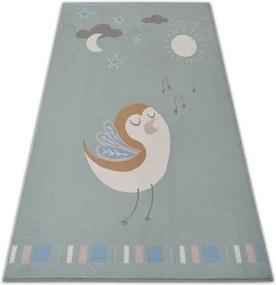 Detský protišmykový koberec LOKO Vtáčik zelený - 120x170 cm