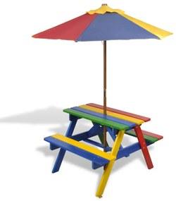 40773 vidaXL Detský piknik stôl a lavičky so slnečníkom, štvorfarebný