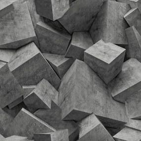 Vliesové tapety na stenu  Hexagone L50519, rozmer 10,05 m x 0,53 m, 3D kocky čierne, Ugépa