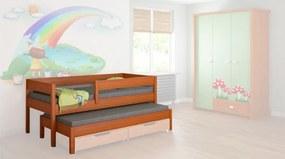 LU Detská posteľ s prístelkou Junior 160x80 - viac farieb Farba: Teak