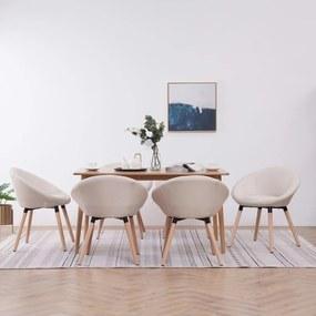 vidaXL Jedálenské stoličky 6 ks krémové látkové
