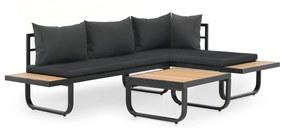 vidaXL 2-dielna záhradná rohová sedacia súprava, podložky, hliník, WPC