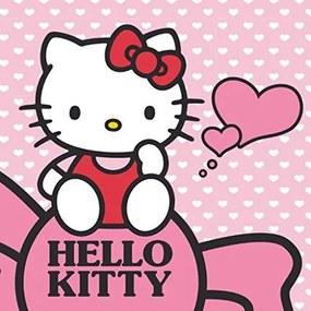 DETEXPOL Magický uterák Hello Kitty srdiečka Bavlna/Froté, 30/30 cm