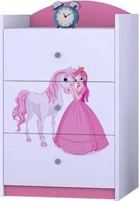 OR Komoda Mery ružová K03 Motív: I - Princezna s koníkom