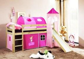 MAXMAX Detská vyvýšená posteľ so šmýkačkou DOMČEK ružový - PRÍRODNÁ
