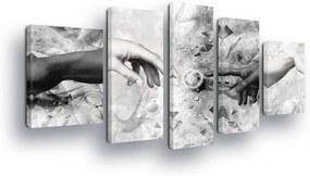 GLIX Obraz na plátne - Black and White Touch Abstraction 2 x 40x60 / 2 x 30x80 / 1 x 30x100 cm